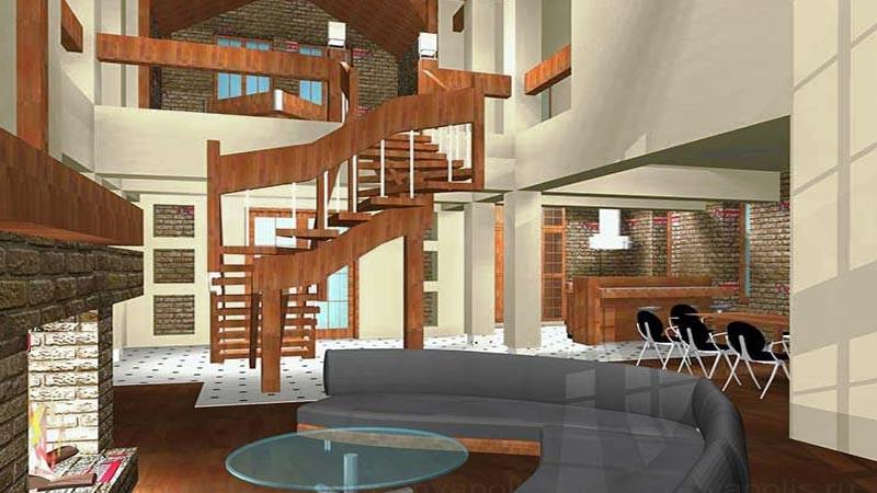 Лофт - стиль особняка ГИЛЬДИЯ - в едином пространстве холл, зимний сад, кухня с барной стойкой, гостиная, каминная с лестницей, бильярдная и холл мансарды