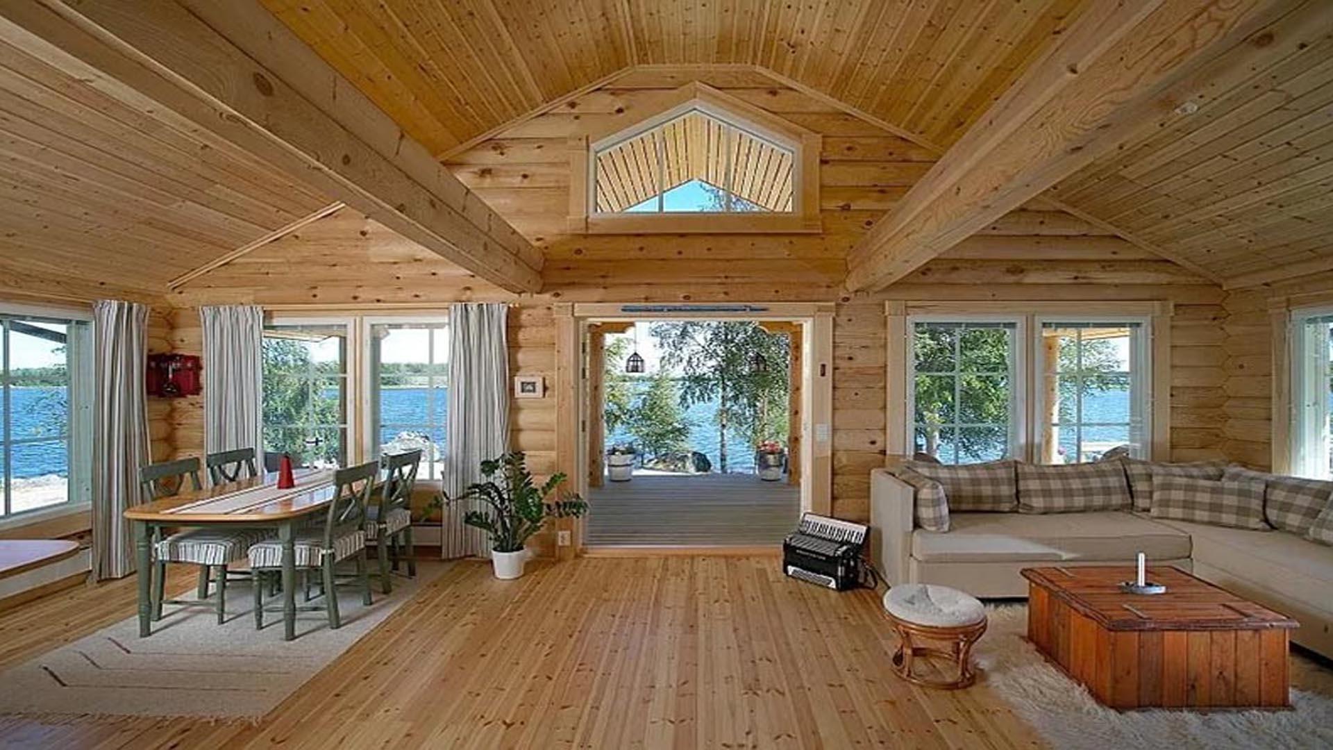 Интерьер финского одноэтажного дома - дерево и ничего кроме дерева