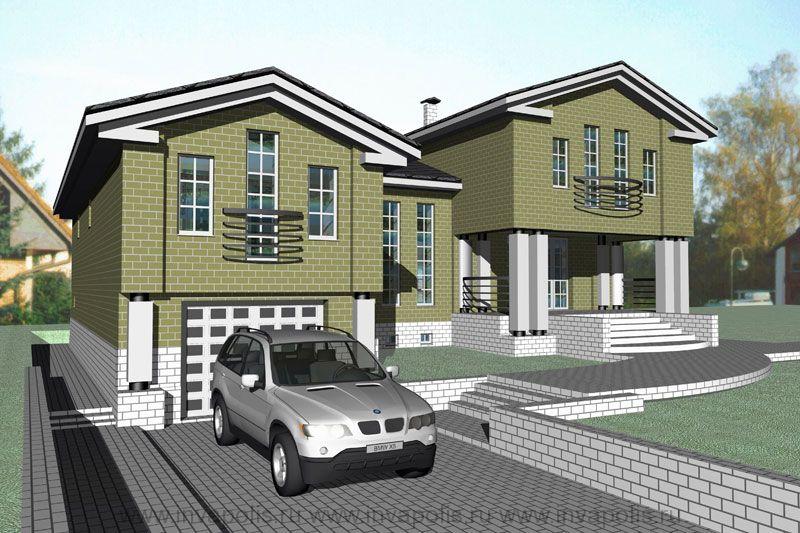 8.Реконструция трех уровневой пристройкой с хозяйственными и жилыми помещениями. Жилой дом НА ДВА КРЫЛА