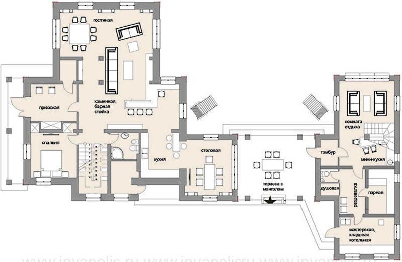 Дом после реконструкции.План 1-го этажа