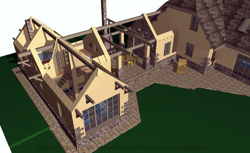 конструкции системы балок крыши и колонн пристройки к дому