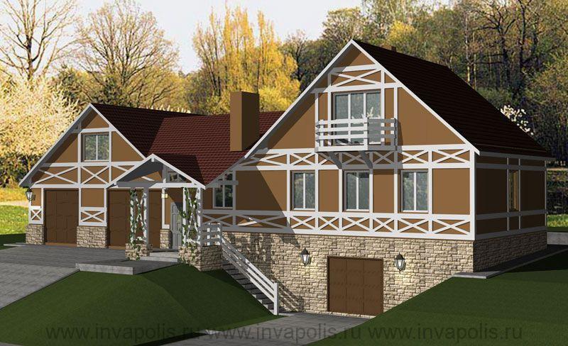 ПОСЛЕ – стилизована архитектура, пристроено крыльцо и лестница от входа к гаражам. Новый стиль архитектуры – уютный и представительный германский «фахверк».