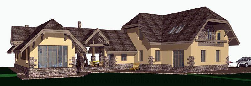 ПОСЛЕ - к коттеджу пристроили еще один небольшой дом с гостевыми помещениями и баней.
