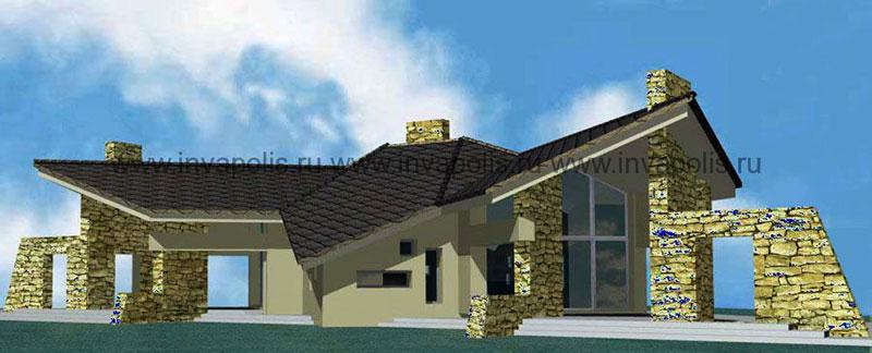 ПОСЛЕ – завершение строительства, отделка, перепланировка, организация внутреннего пространства дома: устройство бани, водопада, бассейна, гостиной, кухни и спальни в мансарде.