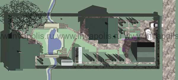 ландшафтный проект  узкого участка 15 соток с привязкой проекта жилого дома КРОХА и гостевого дома ПОДСОБНЫЙ
