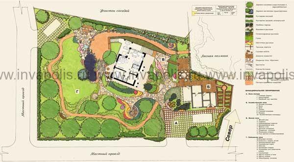 ландшафтный проект трапецевидного участка 12 соток с привязкой проекта жилого дома КРОХА