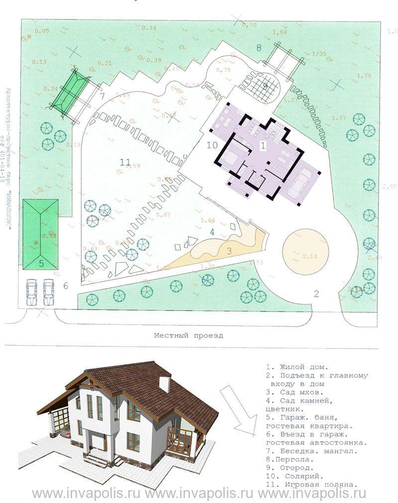 Ландшафтное планирование участка 25 соток с проектом дома «Светлый 106»