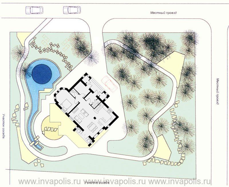 Ландшафтный проект участка 12 соток с проектом дома «Стильный»