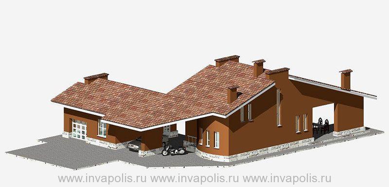 Вариант  расположения сооружений усадьбы в двух домах объединенных переходом